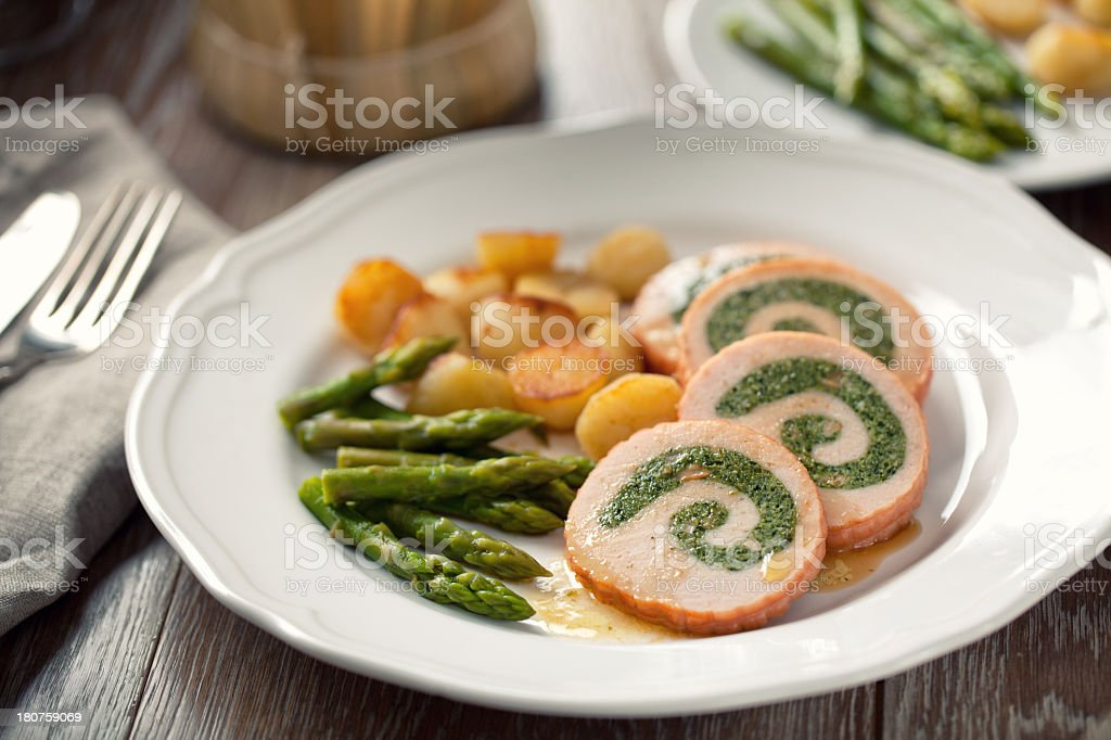 Turkey breast stuffed royalty-free stock photo