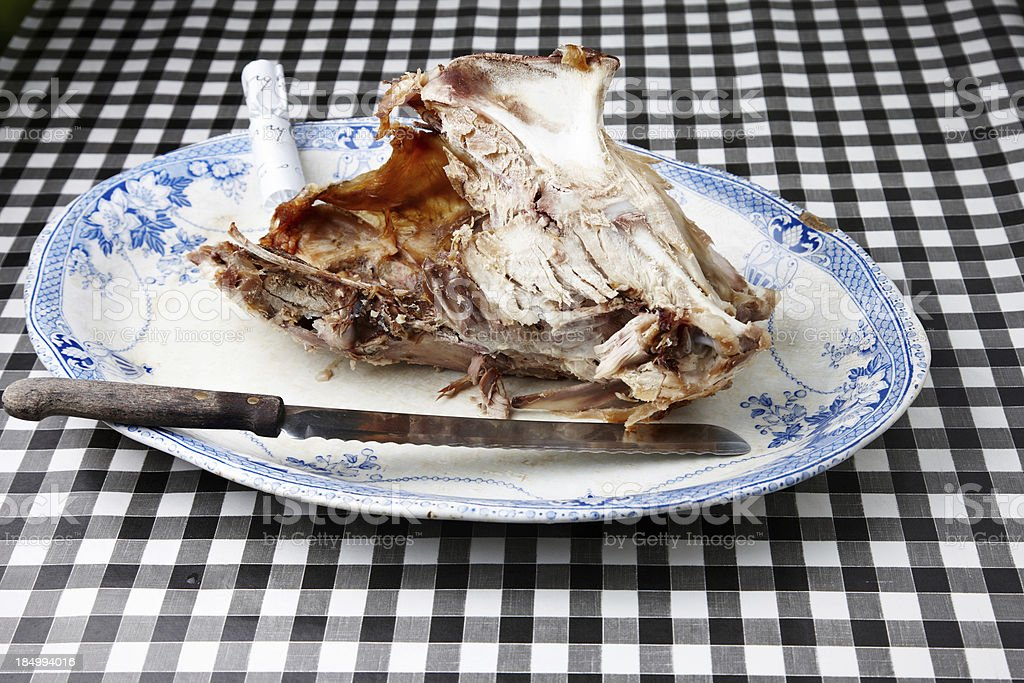 Turkey carcass on a large plate stock photo