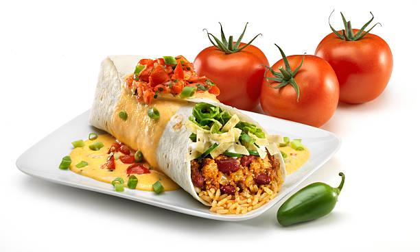 Turkey Chili Burrito on white  burwellphotography stock pictures, royalty-free photos & images