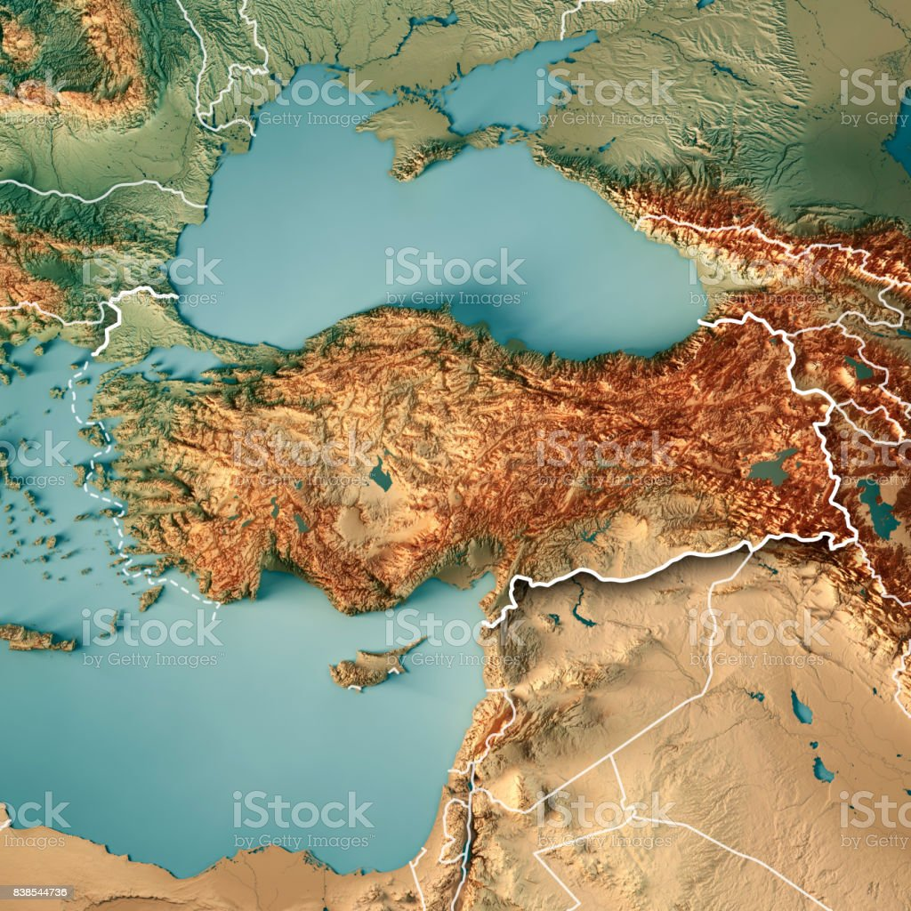 Turkey Country 3D Render Topographic Map Border stock photo