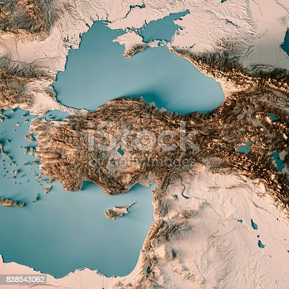 istock Turkey Country 3D Render Topographic Map Neutral 838543062