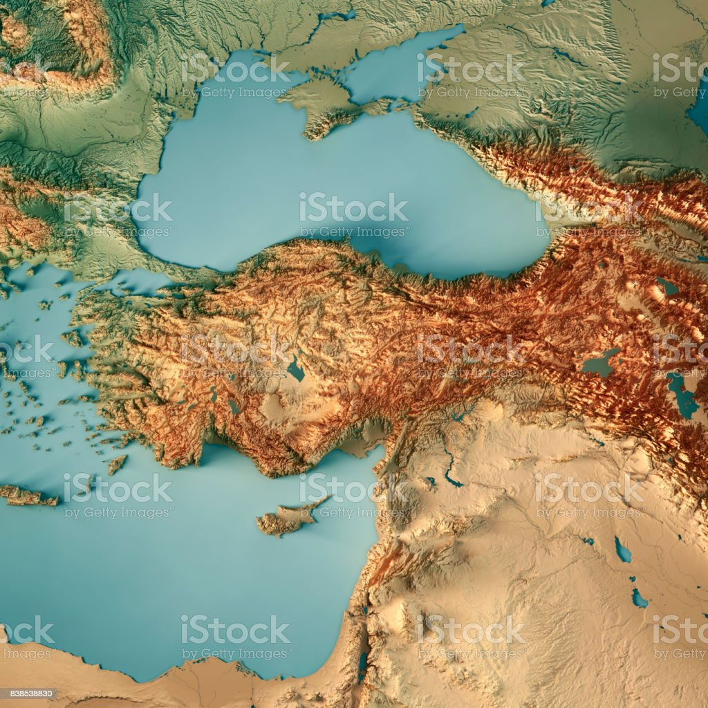 Turkey Country 3D Render Topographic Map stock photo