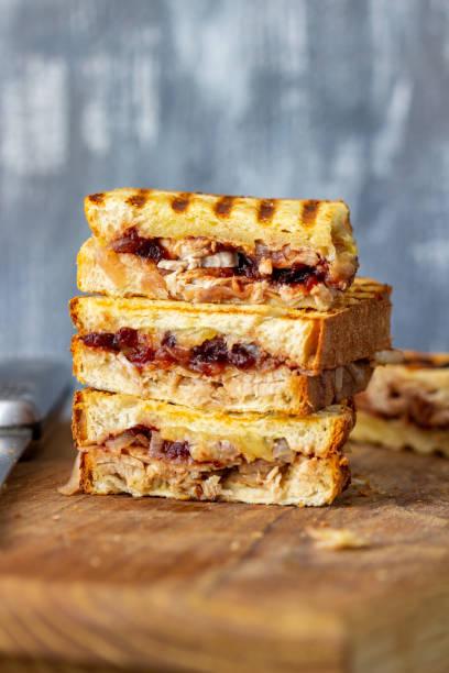 turquía sandwich arándano - thanksgiving leftovers fotografías e imágenes de stock