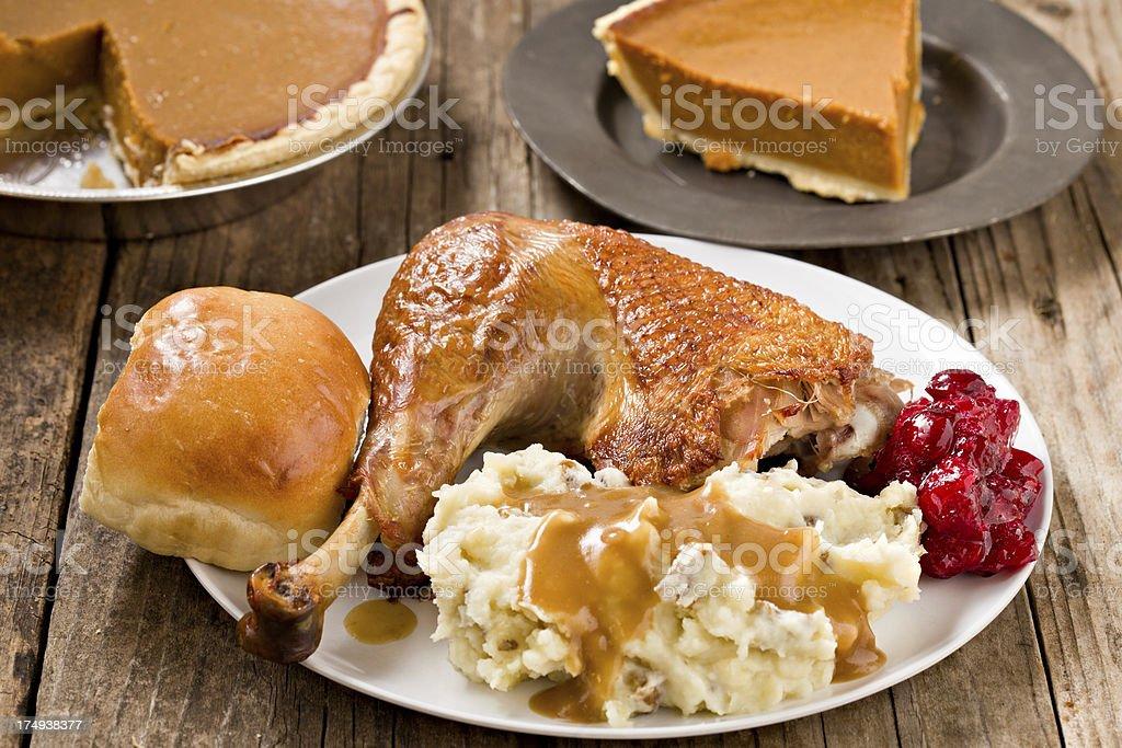 Turkey Dinner and Pie royalty-free stock photo