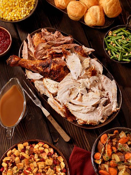 die türkei abendessen - esszimmer buffet stock-fotos und bilder