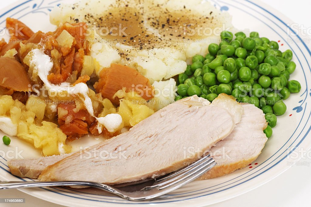 A turkey dinner Thanksgiving day plate stock photo