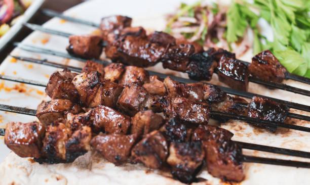 Turkey, Diyarbakir lamb shish kebab on serving plate in restaurant stock photo