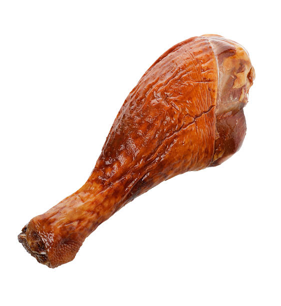 Turkey Drumstick Turkey Smoked Leg Isolated On White drumstick stock pictures, royalty-free photos & images