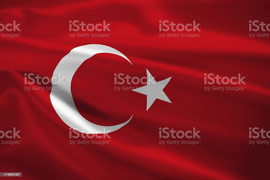 Turkey flag blowing in the wind stock photo
