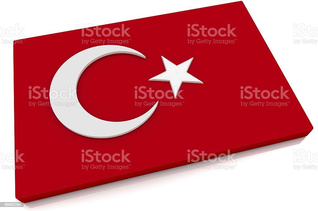 3D Turkey Flag Button royalty-free stock photo