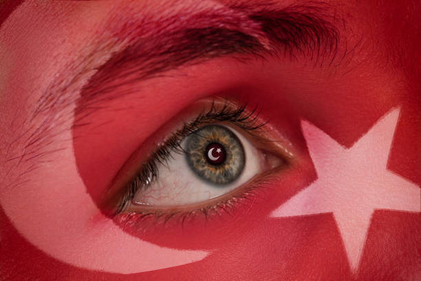 turkey flag on man face.concept of special day background. - number 19 stock photos and pictures