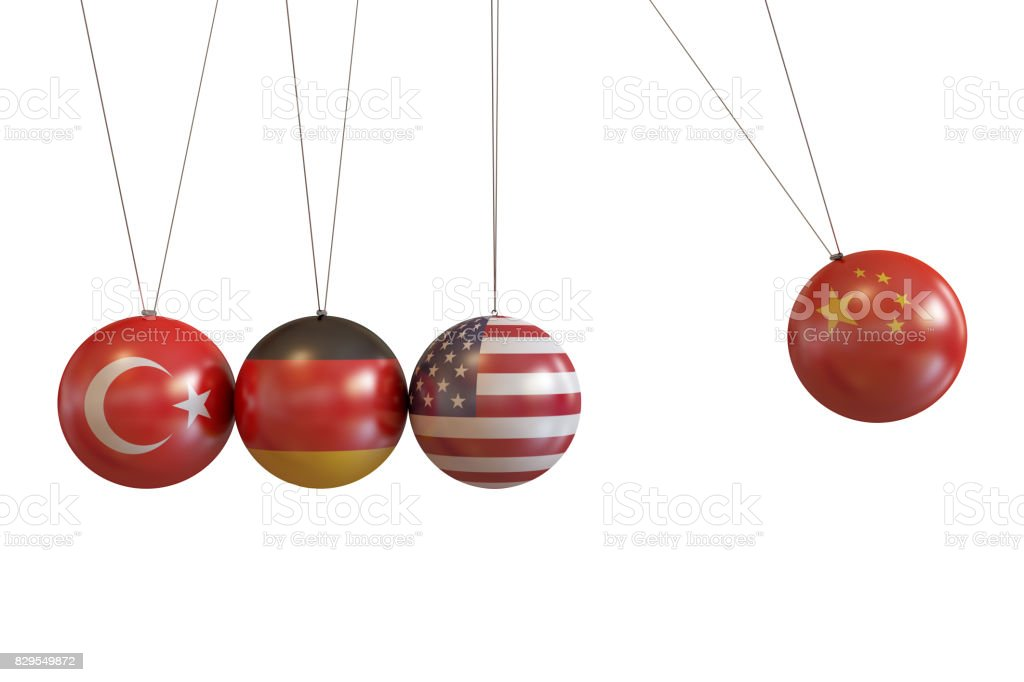 Turkey, Germany, Usa, China Countries Pendulum stock photo