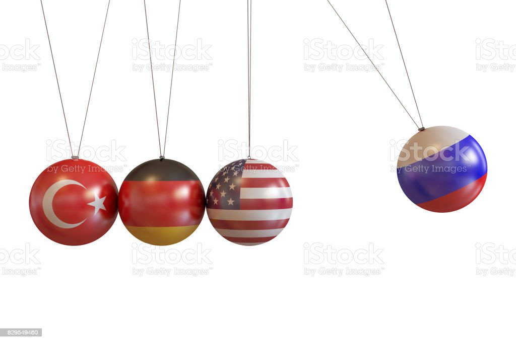 Turkey, Germany, Usa, Russia Countries Pendulum stock photo