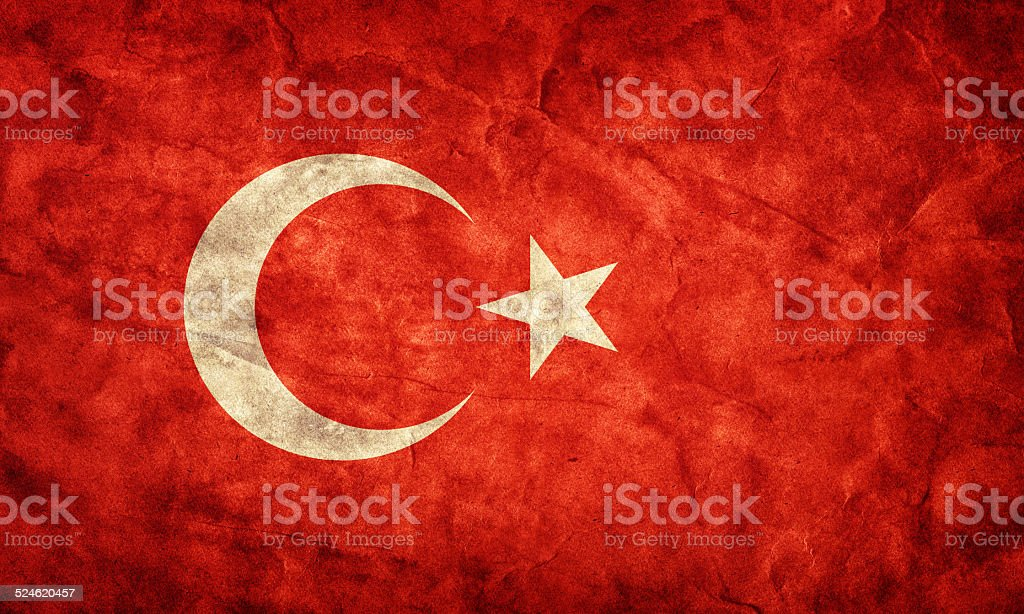 Turkey grunge flag. Item from my vintage, retro flags collection stock photo