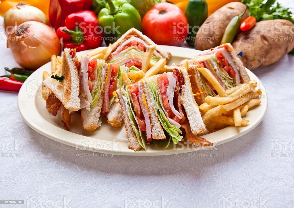 Turkey Ham Club Sandwich stock photo