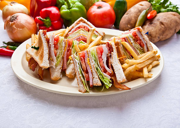 turkey ham club sandwich - club sandwich stock photos and pictures