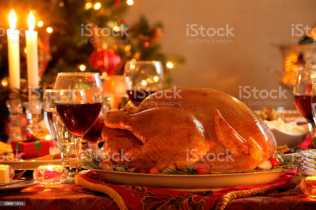 Turkey In A Christmas Dinner Setting stock photo