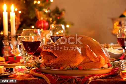 Turkey In A Christmas Dinner Setting Stock Photo & More Pictures of Candle