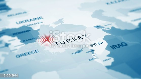 istock Turkey istanbul map, Earthquake centers on the map 1210546614