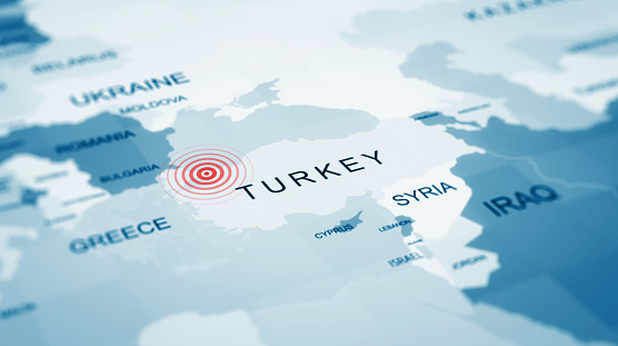 Turkey istanbul map, Earthquake centers on the map