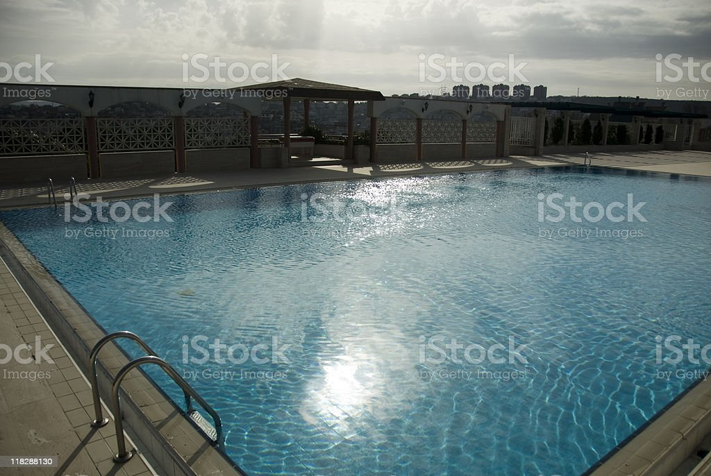 Turkey, Istanbul, outdoor swimming pool, high angle view royalty-free stock photo