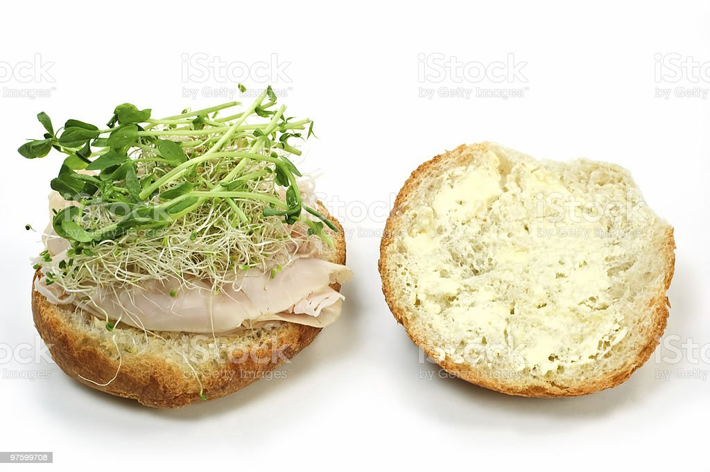 Turkey kaiser sandwich royalty-free stock photo