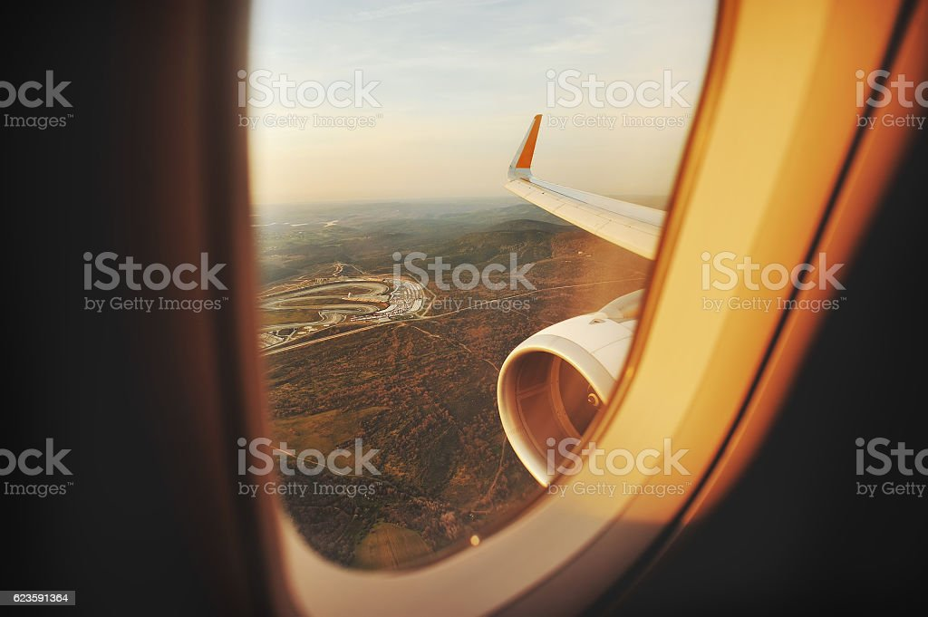 Turkey, landing aircraft, Istanbul highangel view from plane stock photo