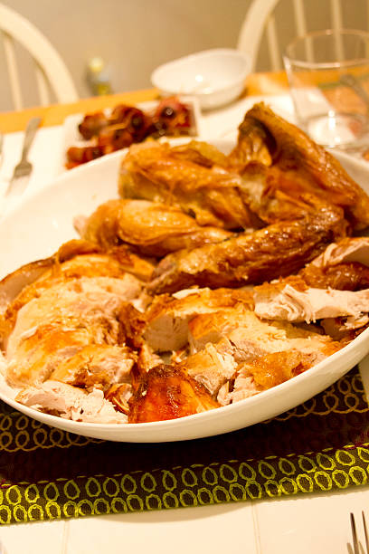 Turkey Leftovers Left over turkey after Thanksgiving meal. thanksgiving leftovers stock pictures, royalty-free photos & images