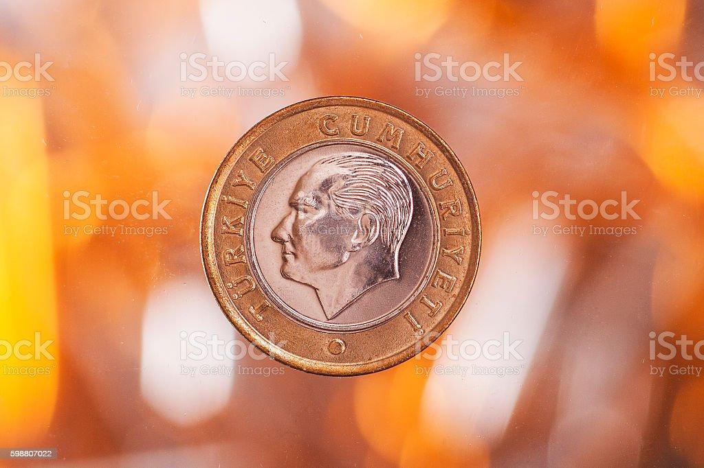 Turkey lira  coin (+clipping path) stock photo