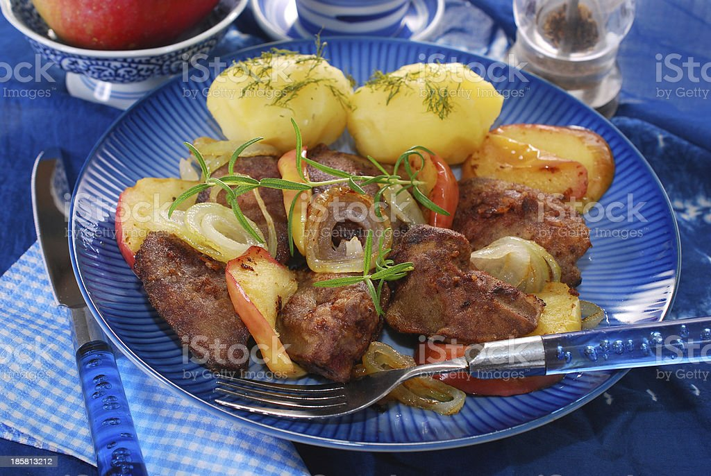 turkey liver fried with onion and apple royalty-free stock photo
