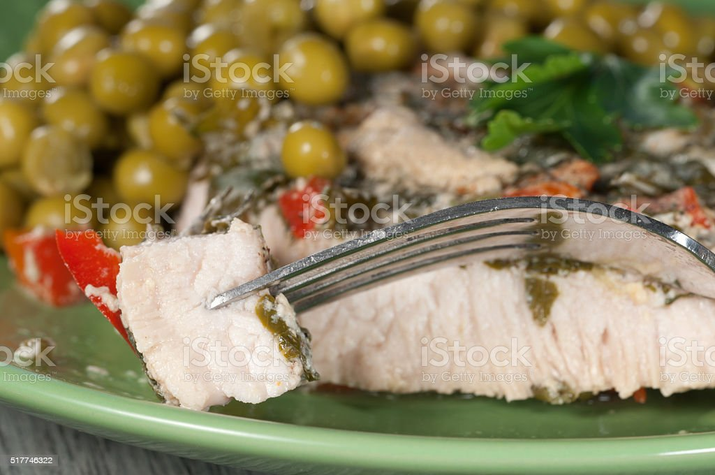Turkey meat in vegetable sauce with paprika and greenery