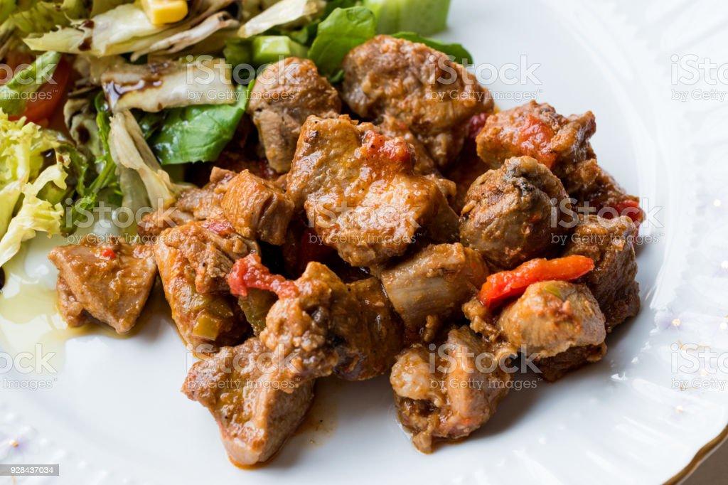 Turkey Meat Saute with Salad / Et Sote Kavurma Kebap or Kebab stock photo