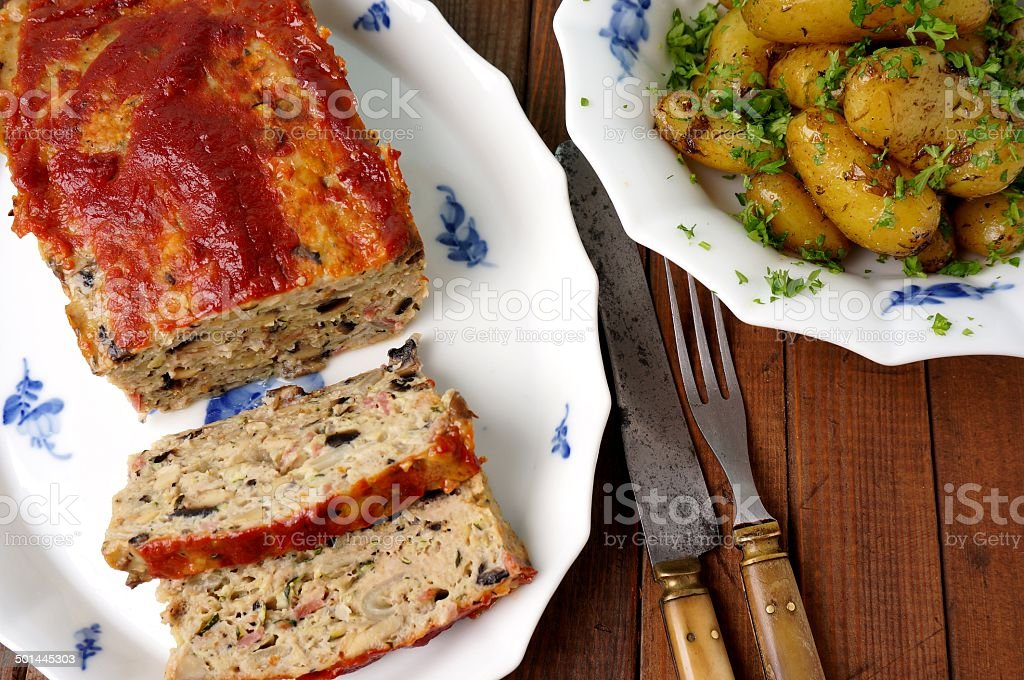 turkey meatloaf with roasted potatoes stock photo