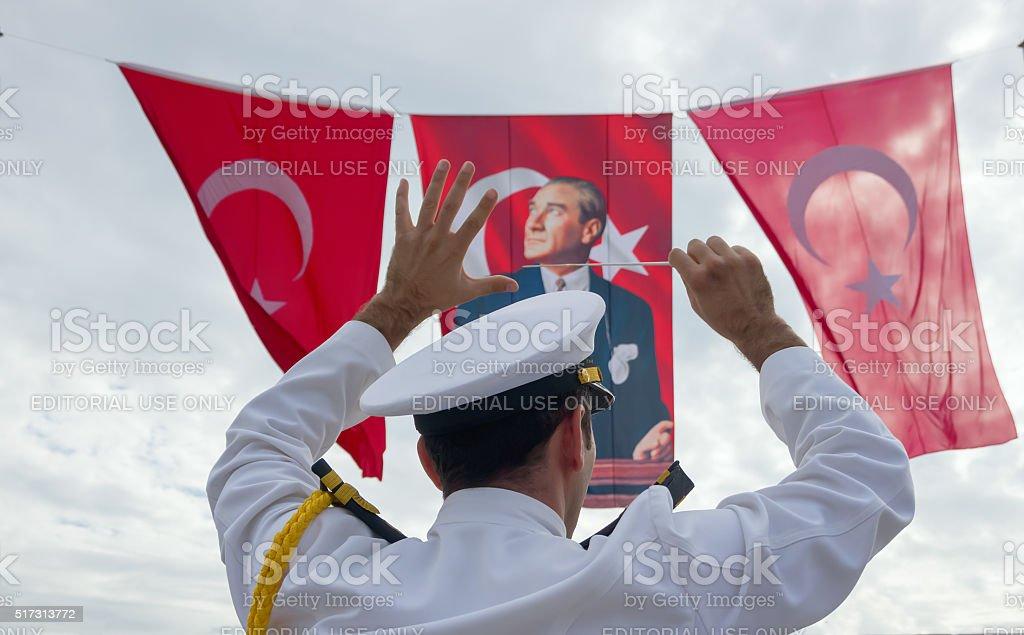 Turkey national day ceremony stock photo