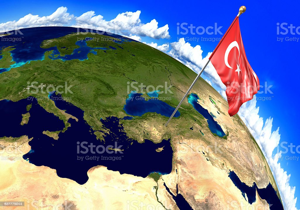 Turkey Map Of World.Turkey National Flag Marking The Country Location On World Map Stock