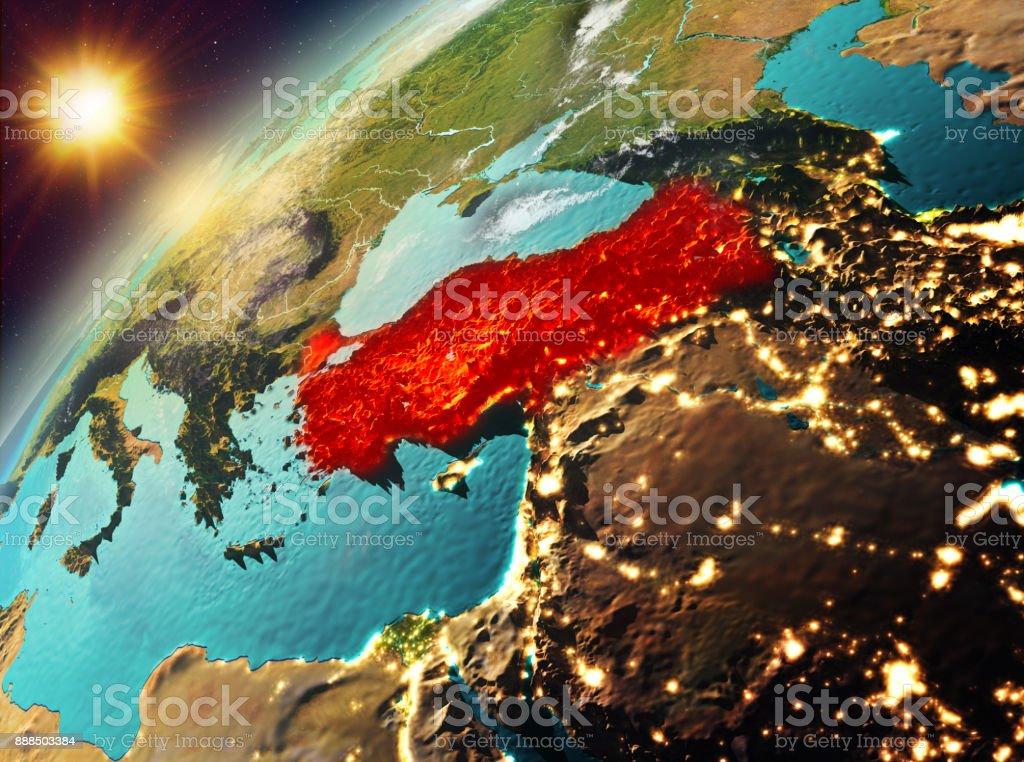 Türkei auf dem Planeten Erde im Sonnenuntergang – Foto