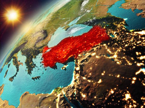 Turquía en el planeta tierra en puesta del sol - foto de stock