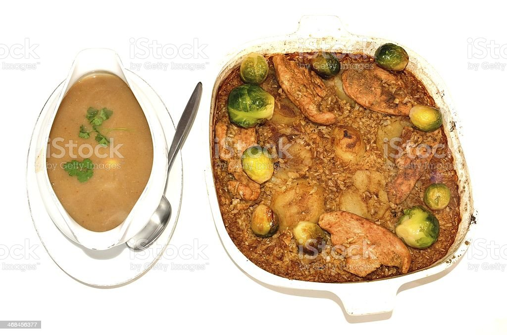 Turkey, rice, potatoes and brussel sprouts. stock photo