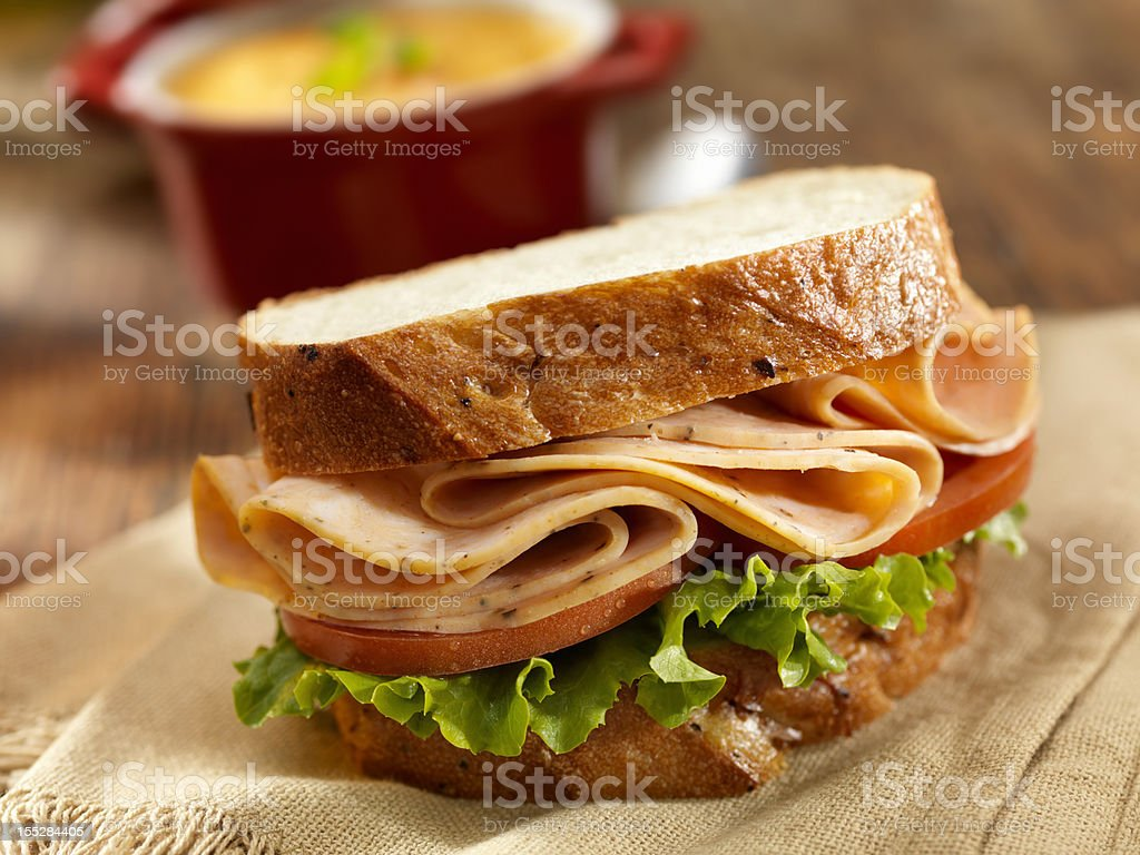 Turkey Sandwich and Tomato Soup royalty-free stock photo