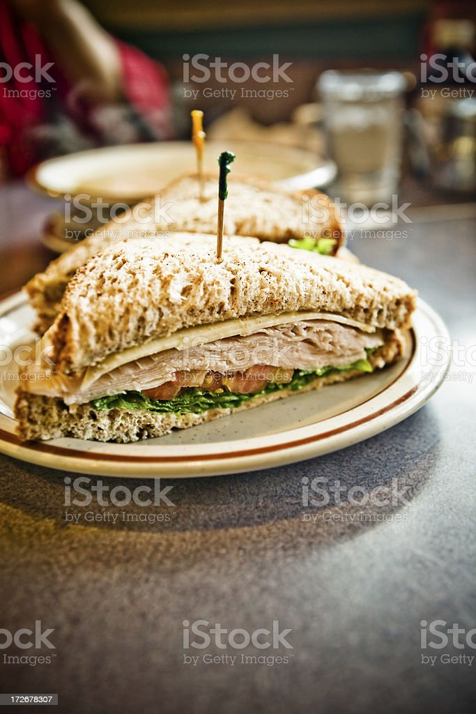 turkey sandwich at a diner royalty-free stock photo