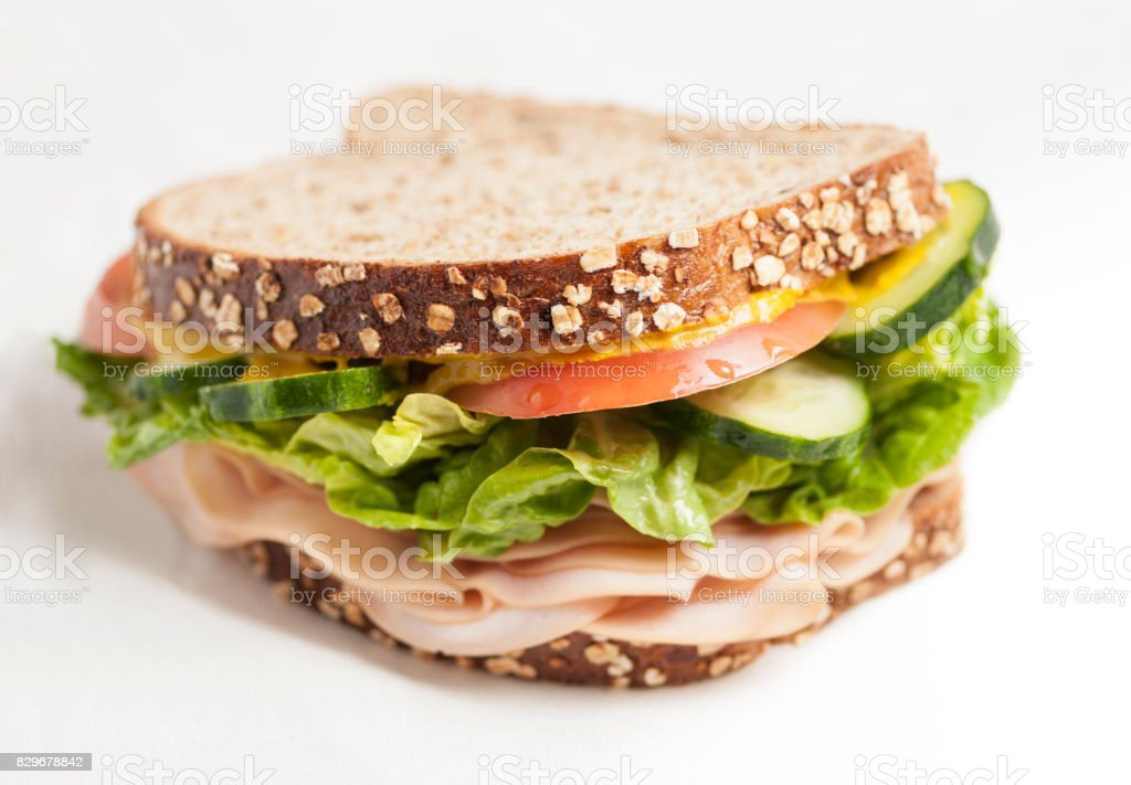 turkey sandwich isolated stock photo
