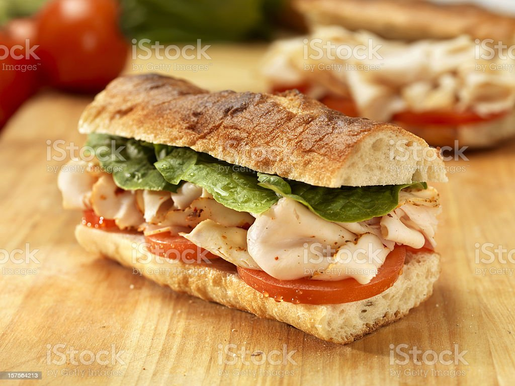 Turkey Sandwich on a Baguette royalty-free stock photo