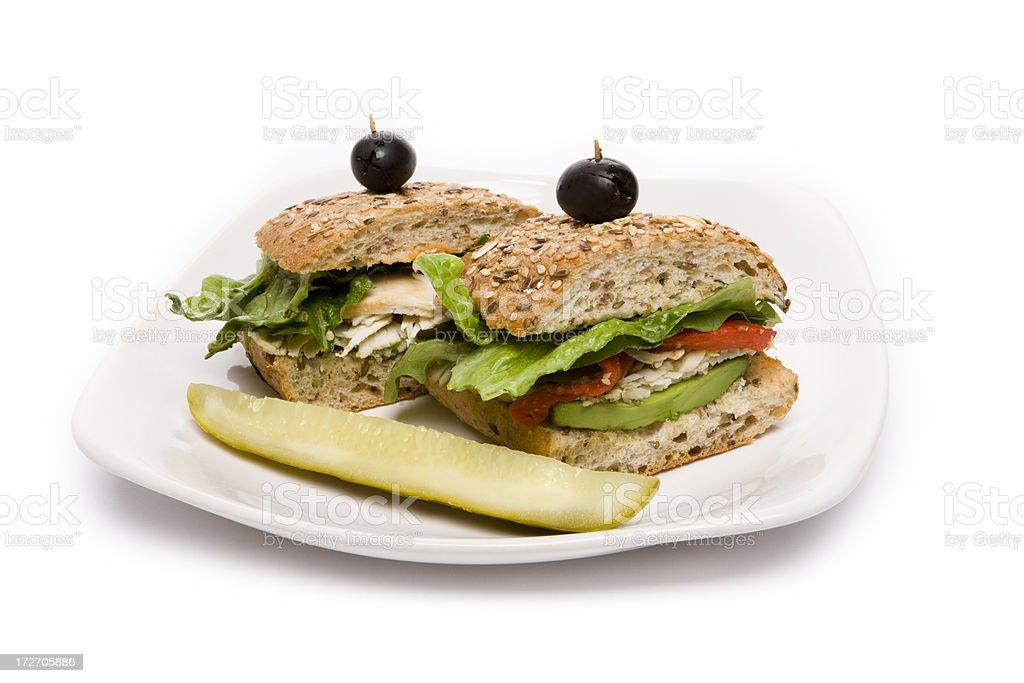 Turkey Sandwich on a Plate royalty-free stock photo