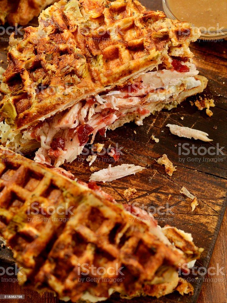Roasted Turkey Sandwich on a Stuffing Waffel with Mash Potatoes,...