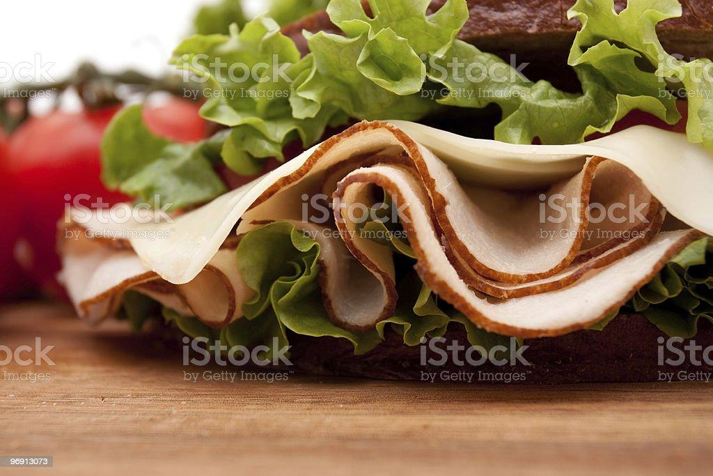 Turkey sandwich on rye bread royalty-free stock photo
