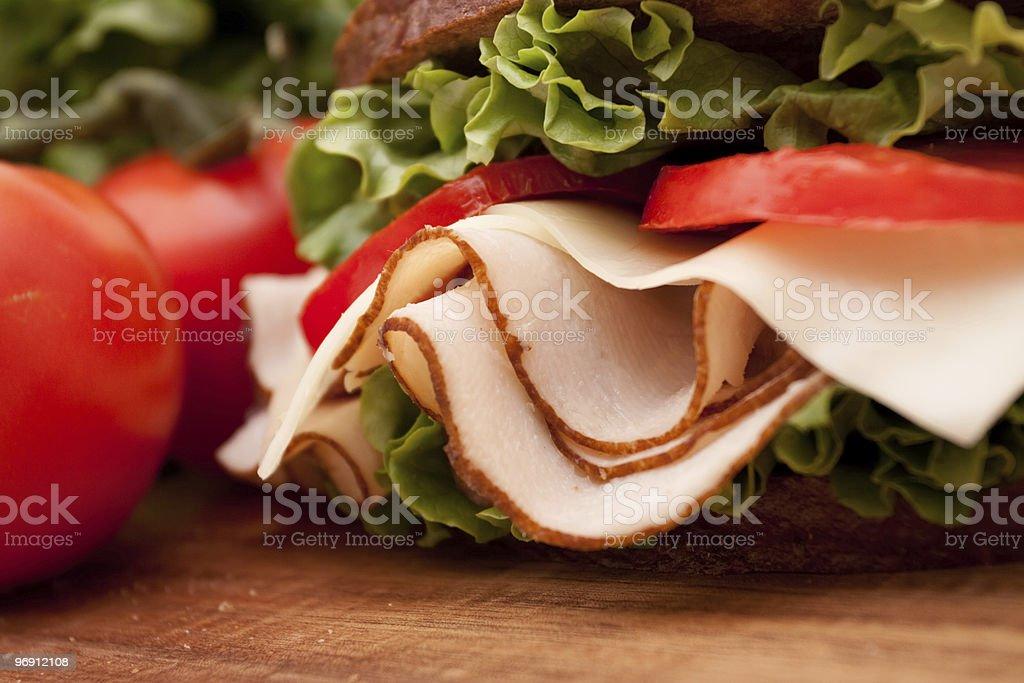 Turkey sandwich on rye royalty-free stock photo