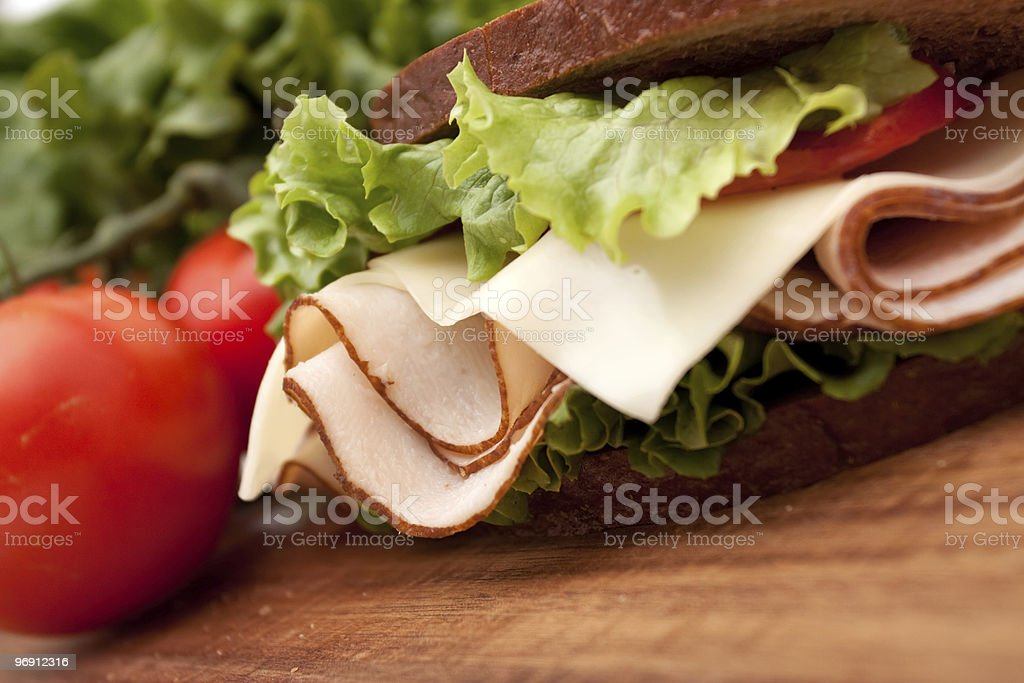 Turkey sandwich on rye royalty-free stock photo