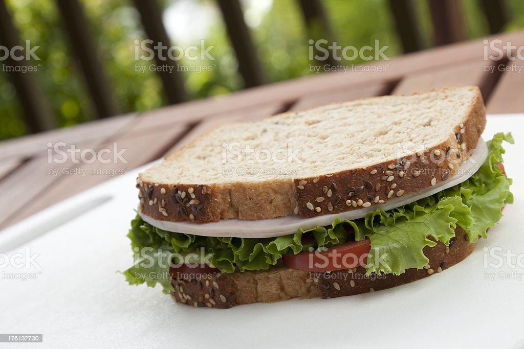 Turkey sandwich on wheat royalty-free stock photo