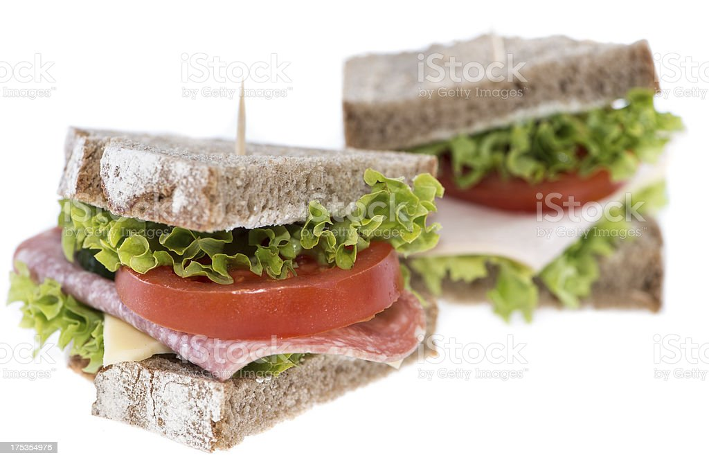 Turkey Sandwich on white royalty-free stock photo
