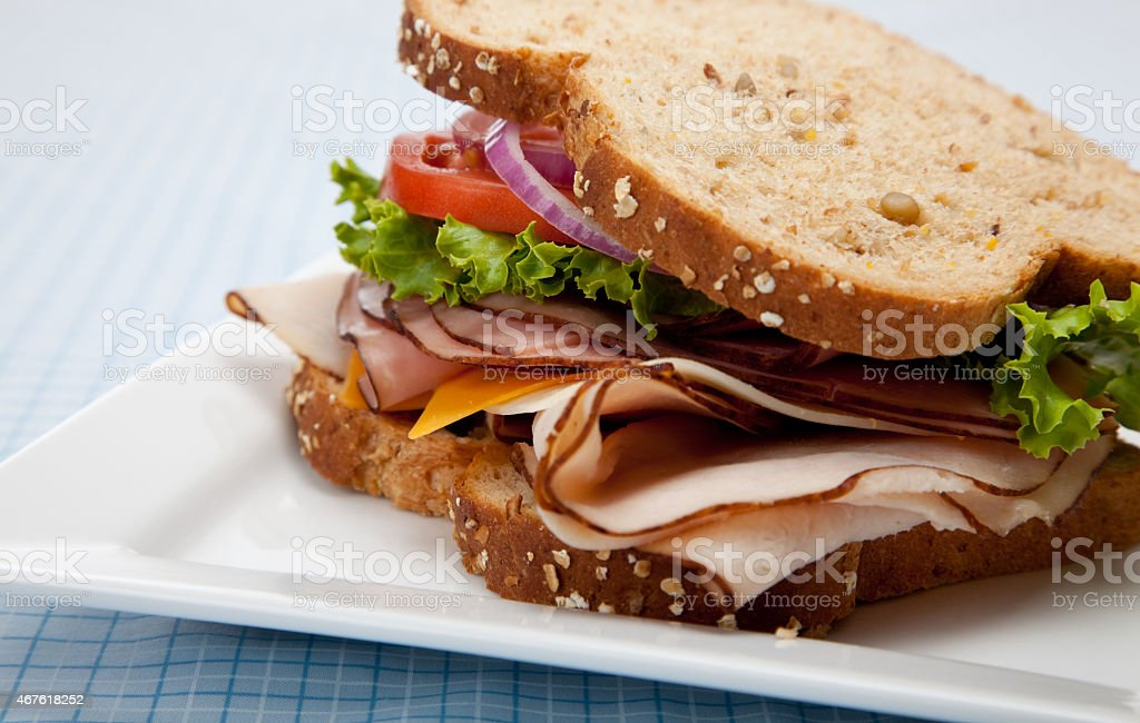 Turkey sandwich on whole grain bread stock photo